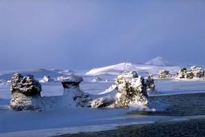 winter myvatn north lake geology