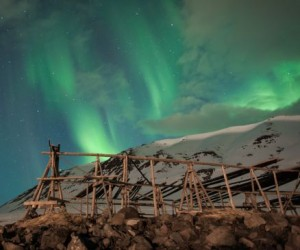 Aurora.Borealis northern lights fish drying culture