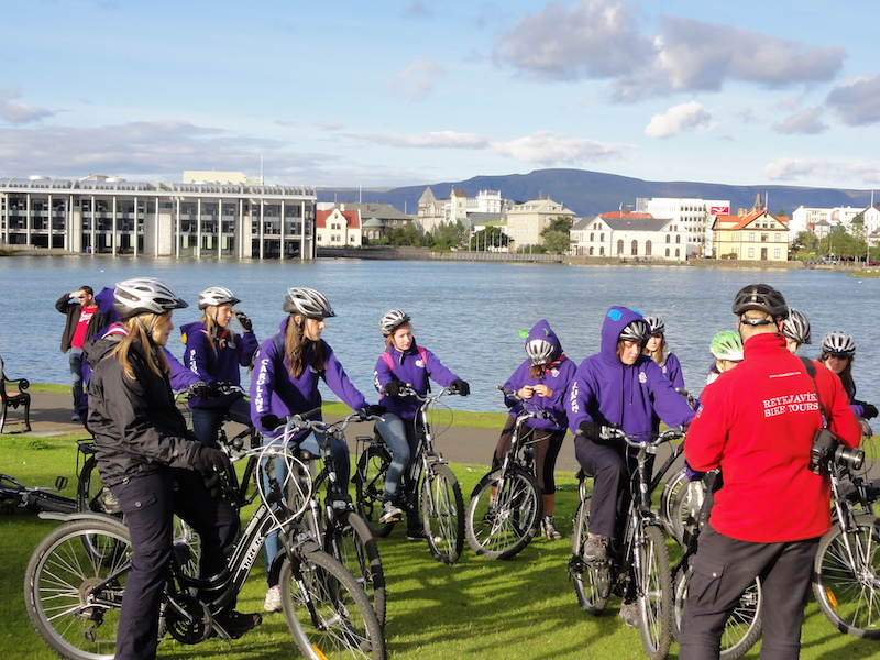Group bike-riding in Reykjavik